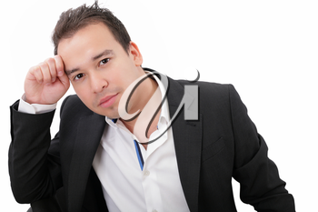 Picture of a pensive young businessman, isolated on white background