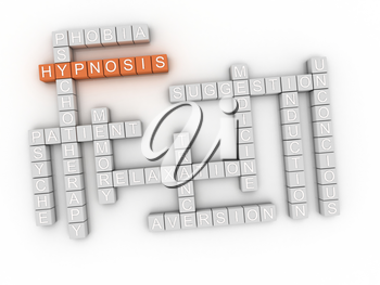 3d image Hypnosis issues concept word cloud background