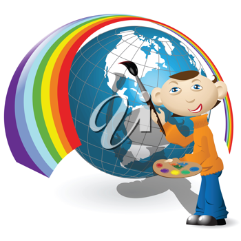 Royalty Free Clipart Image of an Artist Painting the World