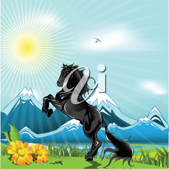 Royalty Free Clipart Image of a Horse in a Field