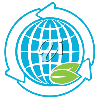 Royalty Free Clipart Image of a Globe With Arrows