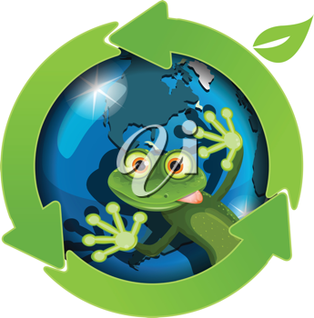 Royalty Free Clipart Image of a Lizard And Globe