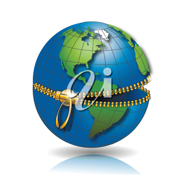 Royalty Free Clipart Image of a Globe With a Zipper