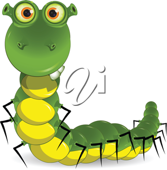 Royalty Free Clipart Image of a Green Worm