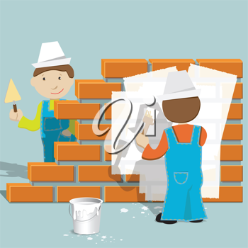 Royalty Free Clipart Image of Two Construction Workers