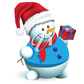 Royalty Free Clipart Image of a Snowman Holding a Present