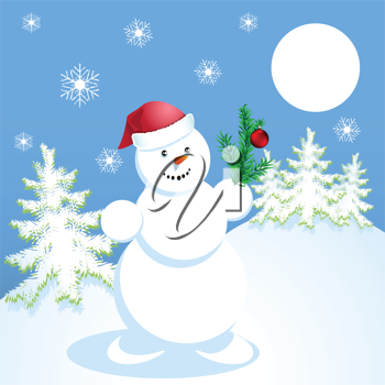 Royalty Free Clipart Image of a Snowman Outdoors