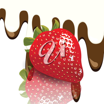 Royalty Free Clipart Image of a Strawberry With Chocolate