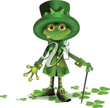 Royalty Free Clipart Image of a Frog Dressed for Saint Patrick's Day