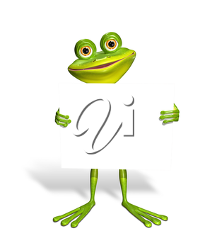 Royalty Free Clipart Image of a Frog Holding a Sign