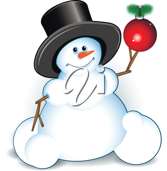 Illustration new year's snowman on white background