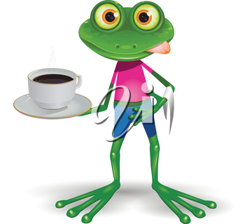 Illustration green frog with cup hot coffee