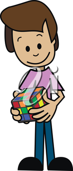 Illustration of a cartoon man with a puzzle