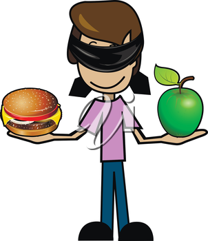 Illustration of a cartoon man with an apple and a cheeseburger