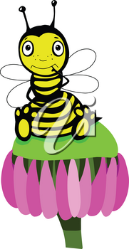 Stock Illustration Cute Little Bee on a White Background