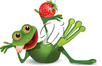 Stock Illustration Frog with Strawberry on a White Background