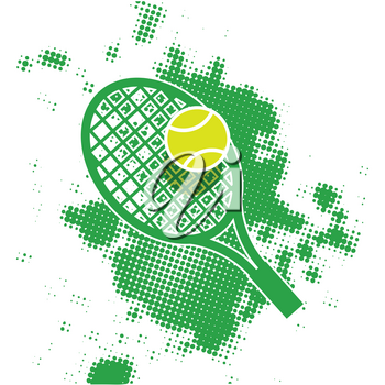 Stock Illustration Abstract Tennis Logo on White Background