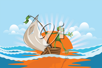 Illustration Merry Frog on a Boat in the Sea on a Cloudy Sky Background