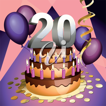 Royalty Free Clipart Image of a Twentieth Anniversary Cake with Numbers