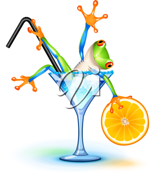Royalty Free Clipart Image of a Tree Frog in a Blue Lagoon Cocktail