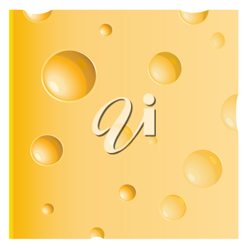 Royalty Free Clipart Image of a Slice of Swiss Cheese