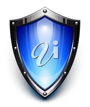 Royalty Free Clipart Image of a Blue Security Shield
