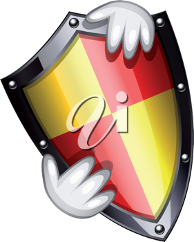 Royalty Free Clipart Image of Hands Holding a Shield