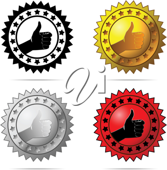 Royalty Free Clipart Image of Thumbs Up Labels