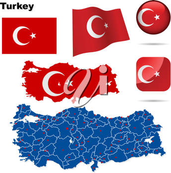 Royalty Free Clipart Image of a Map and Flag of Turkey