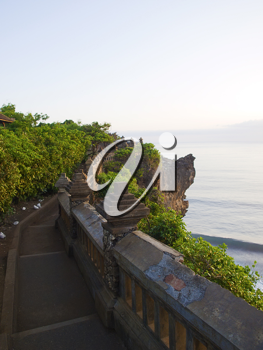 View on the ocean from Pura Luhur Temple in Uluwatu at sunset, Bali