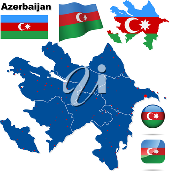 Azerbaijan vector set. Detailed country shape with region borders, flags and icons isolated on white background.