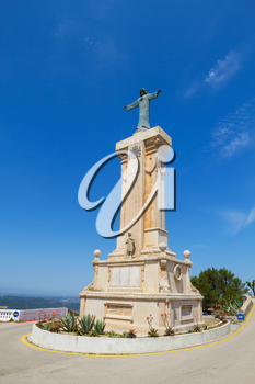 Statue of Jesus of the Sacred Heart at Menorca Island highest point Monte Toro, Spain.