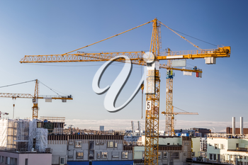 Construction site with tower cranes against clear sky.