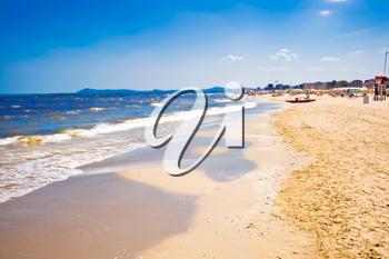 Royalty Free Photo of a Beach at the Adriatic Sea in  Rimini, Italy