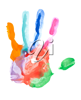 Royalty Free Photo of a Closeup of a Colorful hand Print