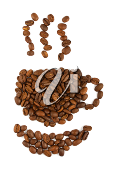 Royalty Free Photo of an Arrangement of Coffee Beans in the Shape of a Cup of Coffee