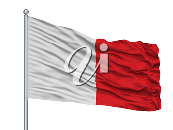 Beaumont City Flag On Flagpole, Country Belgium, Isolated On White Background, 3D Rendering