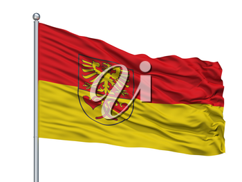Rietberg City Flag On Flagpole, Country Germany, Isolated On White Background