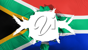 South Africa flag with a big hole, white background, 3d rendering