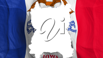 Ripped Iowa state flying flag, over white background, 3d rendering