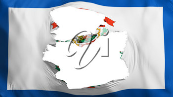 Tattered West Virginia state flag, white background, 3d rendering