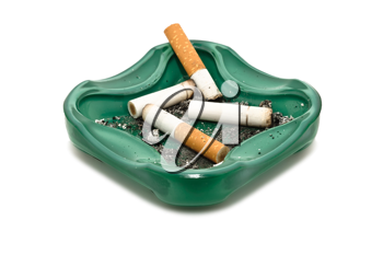 Closeup image of ashtray and cigarette butts, isolated on white background
