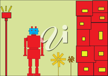 Royalty Free Clipart Image of a Red Robot