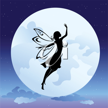 Royalty Free Clipart Image of a Fairy Flying by the Moon