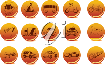 Royalty Free Clipart Image of Transportation Icons