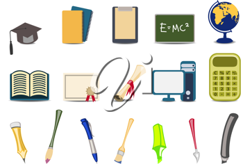 Royalty Free Clipart Image of Educational Icons