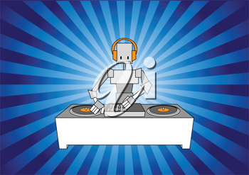 Royalty Free Clipart Image of a Robot DJ