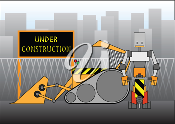 Royalty Free Clipart Image of a Robot Construction Worker