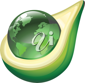 Royalty Free Clipart Image of a Globe in an Avocado