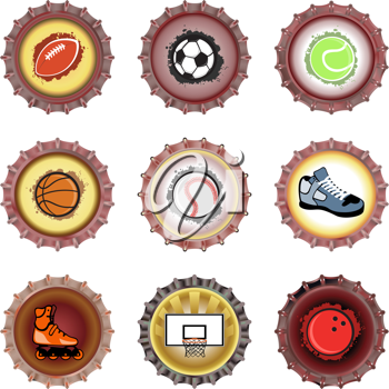Royalty Free Clipart Image of Bottle Caps